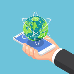 Isometric businessman hand holding smartphone with world and global network.