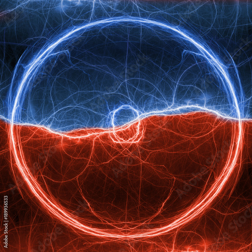 Red And Blue Lightning Ball Abstract Electrical Plasma