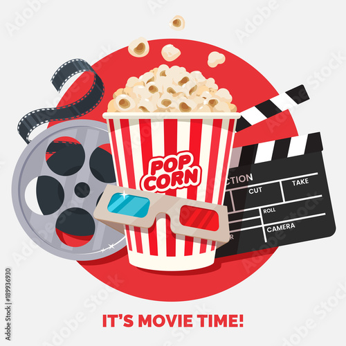 Movie time vector illustration. Cinema poster concept on red round ...