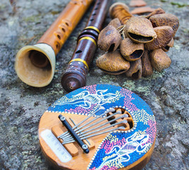Close up of kalimba, rattle, flute and horn pipe music instruments