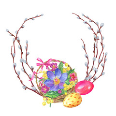Frame of branches of pussy-willow, basket of spring flowers and eggs. Easter composition, watercolor drawing on white background isolated with clipping path.