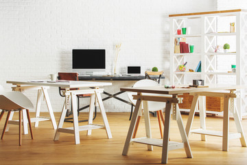 White interior with workplace