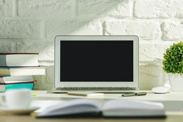 Creative modern desk top with laptop