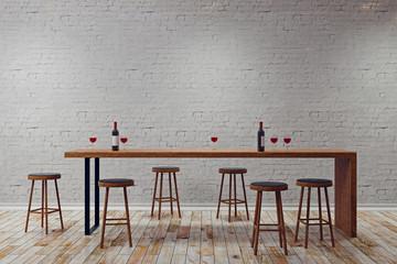 Creative white pub interior