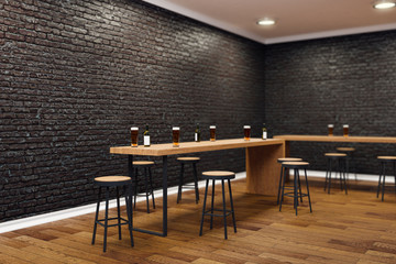 Modern black bar interior