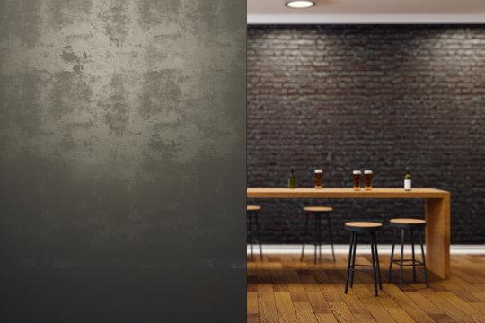 Contemporary black bar interior