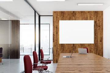 Meeting room with blank billboard