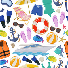 Seamless background of beach summer holidays accessories, cartoon illustration. Vector