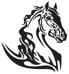 horse head tribal tattoo, logo, icon . Flaming mustang. Black and white vector illustration