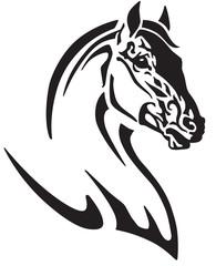 horse head tribal tattoo, logo, icon . Black and white vector illustration