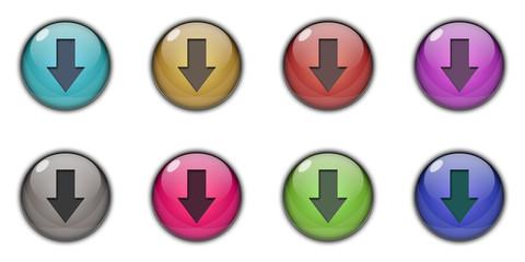 3D Download Button Multicolor