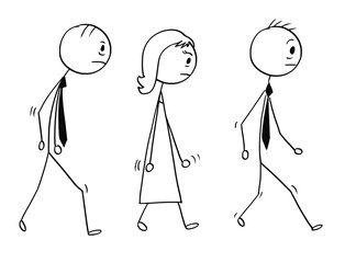 Cartoon stick man drawing conceptual illustration of team of three sad or tired business people, businessman and businesswoman walking.