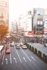 Blurred photo of Tokyo, Japan Road view of Shibuya Crossing, one of the busiest crosswalks in the world.