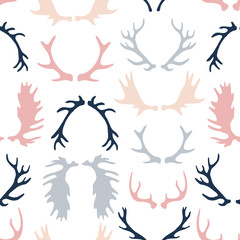 Antlers set. Silhouettes of rustic antler designs.