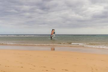 Windsurfer at the beach in Fuerteventura, Canary Islands