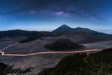 The milky way in night sky with starry over Mount Bromo volcano (Gunung Bromo) in Bromo Tengger Semeru National Park, East Java, Indonesia..