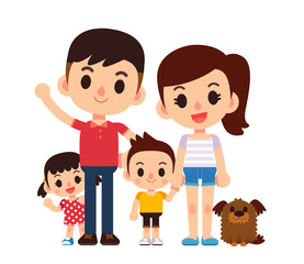Vector illustration of young happy family characters isolated on white background.