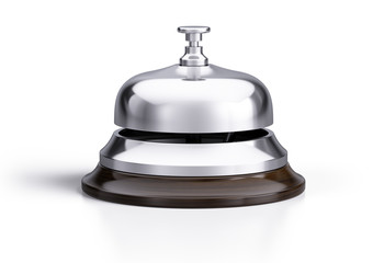 Service, hotel concept. Silver reception bell isolated on white background - 3d illustration