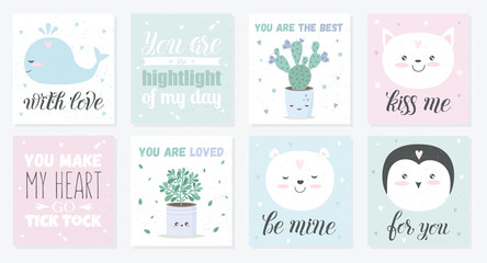 Vector set of love cards with cute objects