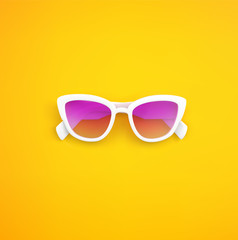 Pink Sunglasses closeup, isolated. Vector flat lay illustration.