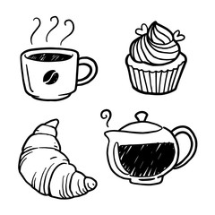 graphic coffee and bakery, vector