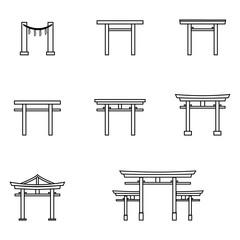 Vector Set of Outline Torii Gate Icons. Symbol of Shintoism