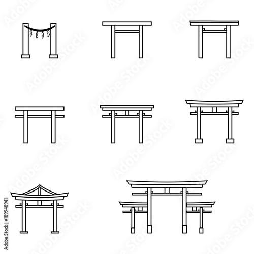 Vector Set Of Outline Torii Gate Icons Symbol Of Shintoism Stock