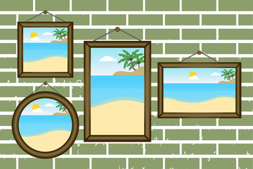 Day summer beach frames on a wall