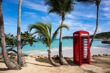 Phone booth in Dickenson Bay on Antigua in the Caribbean