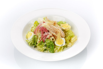 Restaurant food. Salad with bread in a plate. Delicious food.