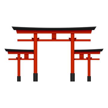 Vector Single Color Flat Shinto Torii Gate Icon