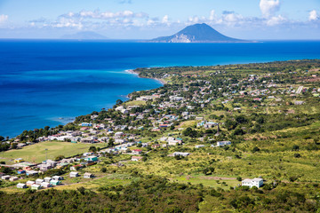 Beautiful landscape and scenery on Saint Kitts & Nevis in the Caribbean