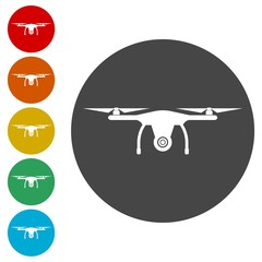 Drone icon, copter with camera