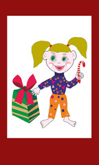 girl cartoon dressed in bright pajamas with caramel in hand near Christmas gifts painted with a vector with a transparent background