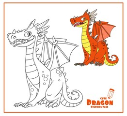 Cheerful dragon with wings and horns sit on white background color and outlines for coloring