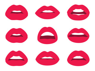 Red woman lips isolated on white background. Vector illustration