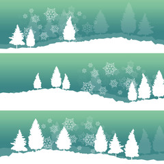 Winter landscape with trees and snow vector abstract