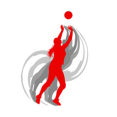Volleyball player woman in red color vector background fast motion