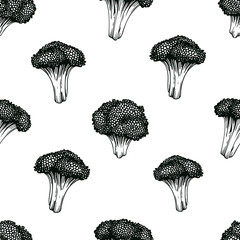 Broccoli hand drawn vector seamless pattern. Vegetable engraved style illustration. Retro broccoli background. Can be use for menu, packaging, farm market product.