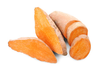 Cut sweet potatoes, isolated on white