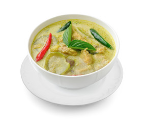 Thai food chicken green curry in the white bolw on white background
