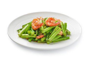 thai food , Asparagus stir fried with prawns
