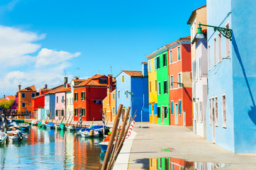 Colorful buildings in Burano island, Venice, Italy