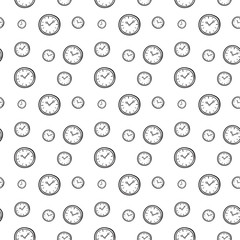 seamless clock background. doodle hand draw vecctor illustration
