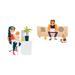 Vector cartoon people working from home, remote, freelance work. Adult woman sitting at workplace typing at desktop keyboard with baby at knees, man sitting at sofa typing at laptop with toddler near