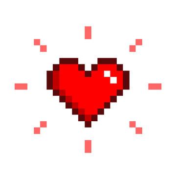 Heart Pixel Art, a vector illustration symbol of a heart in retro 8-bit style.
