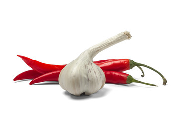 Canvas Prints Hot chili peppers Red hot chili pepper and garlic isolated on white background.