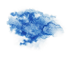 Watercolor. Abstract blue spot on white watercolor paper.