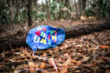 Lonely deflated birthday balloon lost in forest