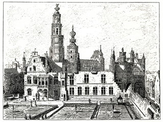 Palace of William of Orange (William the Silent) in Brussels (from Spamers Illustrierte  Weltgeschichte, 1894, 5[1], 553)